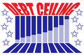 Debt ceiling graphic red white a blue with the words in perspective with a bar graph stars and leading lines Royalty Free Stock Images