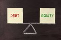 Debt and equity balance concept on blackboard Royalty Free Stock Photo