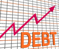 Debt graph chart shows increasing financial indebted showing Royalty Free Stock Photos