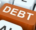Debt key show indebtedness or liabilities showing financial obligation liability Stock Images