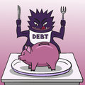 Debt and piggy bank wants to gobble up all the savings from the Stock Photo