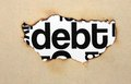 Debt text on paper hole close up of Royalty Free Stock Photography