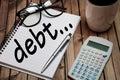 Debt word Royalty Free Stock Photo