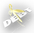 Debt word scissors cutting costs money owed cut by to illustrate to creditors by being over budget and too much spending Royalty Free Stock Image