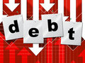 Debts debt shows liability financial and owning indicating obligation finance Royalty Free Stock Photo