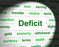 Debts deficit means financial obligation and arrears representing finance Royalty Free Stock Images