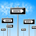 Debts sign shows financial obligation and finance indicating indebt Royalty Free Stock Image