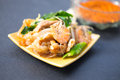 Decadent thai chicken and shrimp stir fry on background Stock Photography
