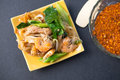 Decadent thai chicken stir fry pad see ew style and shrimp Stock Images