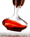 Decanter wine poured into a for wine tasting Stock Images