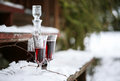 Decanter and wineglasses of red wine outdoors Royalty Free Stock Photography