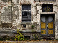 Decayed front door and window Royalty Free Stock Photos