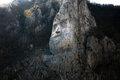 Decebal s head carved in rock in romania the iron gates natural park Royalty Free Stock Photography