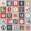 December advent calendar. Christmas poster countdown printable tags numbered poster with xmas ornament, winter postcard Royalty Free Stock Photo
