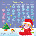 December calendar 2009 Royalty Free Stock Photography