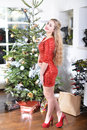 December girl standing beside the christmas tree Stock Image
