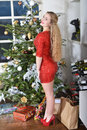 December girl standing beside the christmas tree Stock Photography