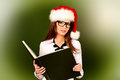 December lesson portrait of a smiling female teacher in christmas cap education Stock Photography