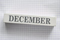 December month printed on wooden block Royalty Free Stock Photography