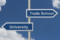 Deciding on whether to go to University or Trade School Royalty Free Stock Photo