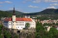 Decin chateau the built on the rock czech republic Stock Images