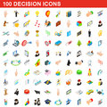 100 decision icons set, isometric 3d style