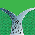 Decision road illustration of a person taking a different path or compared to everyone else standing out in a crowd casting a Royalty Free Stock Photography