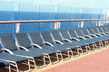 Deck chairs empty blue on a cruise ship Royalty Free Stock Image