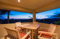 Deck and Patio Furniture at Sunset Royalty Free Stock Photo