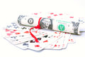 A deck of playing cards and one dollar bill Royalty Free Stock Photos