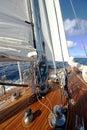 Z klasický dřevo plachetnice v otevřít vody