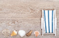 Deckchair and sea shells on wood old weathered wooden board Stock Image