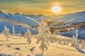 Decline on pass winter evening kolyma the magadan area img Royalty Free Stock Image