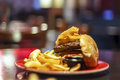 Decomposed burger (fast food)... Royalty Free Stock Photo