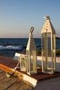 Decor of outdoor cafe with terrace over sea coast. Malia, Crete, Royalty Free Stock Photo