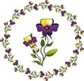 Decor with pansies Stock Photos