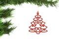 Decoração abstrata na árvore de Natal. Fotografia de Stock
