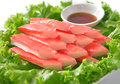 Decorate crab stick in white plate Royalty Free Stock Photo