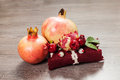 Decorate soap and pomegranate on the wood table Stock Images