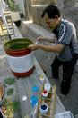 Decorate trash residents compete to cans made from recycled materials in the city of solo central java indonesia Stock Photo