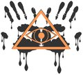 Decorated all seeing eye isolated on hands illustration representing a version of one of the most esoteric symbol the Royalty Free Stock Photo