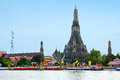 Decorated barge parades at the chao phraya river bangkok thailand no vember in front of wat arun during fry kathina ceremony Stock Image