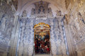 Decorated baroque chapel inside old church santa croce lecce italy Stock Images