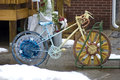 Decorated bike bicycle in a rack at the entrance of a cycling store Royalty Free Stock Images