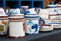 Decorated ceramic pottery for sale at market Royalty Free Stock Photos
