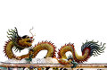 Decorated chinese dragon on the temple s roof isolated flying white background Royalty Free Stock Photography