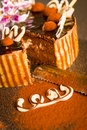 Decorated chocolate cake and knife with cocoa powder Stock Photos