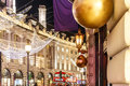 Decorated Christmas street  light, London Royalty Free Stock Photo