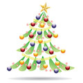 Decorated christmas tree abstract on white background Stock Photos