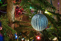 Decorated christmas tree with beautiful ball Royalty Free Stock Photography